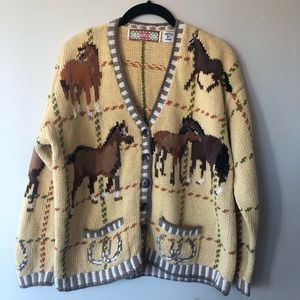 Vintages 80s hand knitted cardigan horse sweater